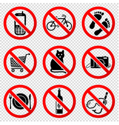 prohibited signs isolated on transparent vector image