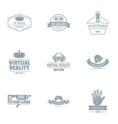 Real logo set simple style vector