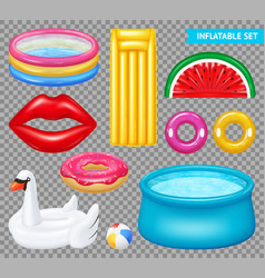 Realistic inflatable objects transparent set vector
