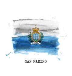 Realistic watercolor painting flag san marino vector