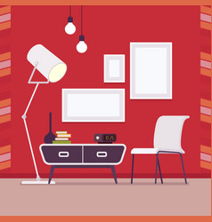 retro interior with wall frames for copy space on vector image