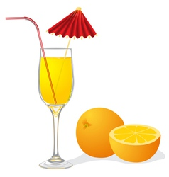 Ripe orange and goblet juice vector
