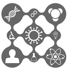 science icon set on smooth grid vector image