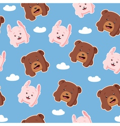 Seamless pattern with rabbit and bear vector