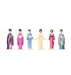 set asian girls wearing traditional dresses women vector image
