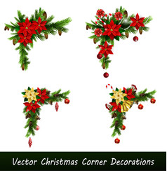 Set christmas corner decorations vector