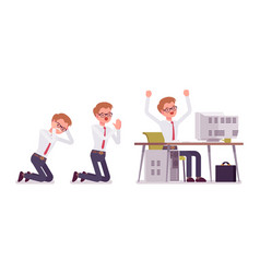 Set of young male clerk in office scenes vector