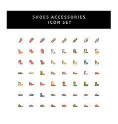 Shoes icon set with filled outline style design vector