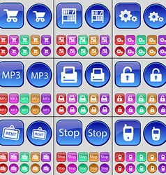 Shopping cart Bookshelf Gear MP3 Printer Lock Rent vector