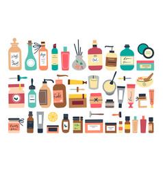 Skincare ointment doodle print set vector