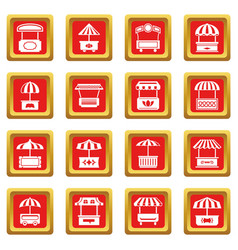 street food kiosk icons set red square vector image