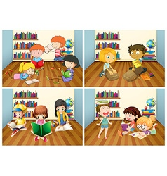Students reading book in room vector image