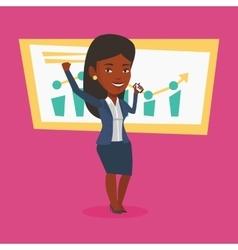 Successful business woman celebrating success vector