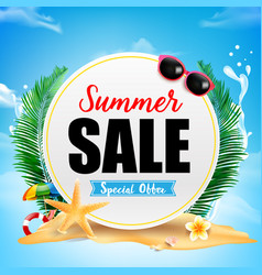 summer sale on white circle frame with starfish vector image