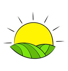 Sun over fields france icon cartoon vector