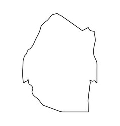 swaziland map of black contour curves on white vector image