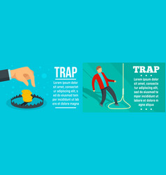 Trap banner set flat style vector