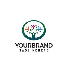 Tree green people logo design concept template vector