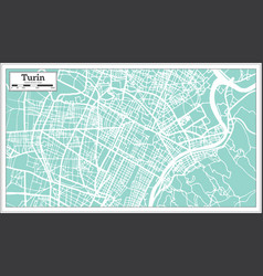 Turin italy city map in retro style outline map vector