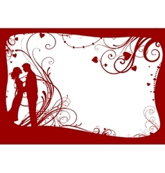 Valentines frame with couple vector image
