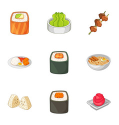various different types of sushi icons set vector image