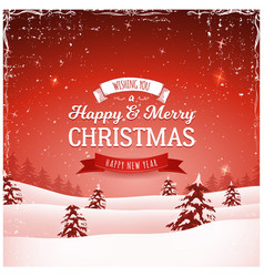 vintage christmas landscape background vector image