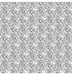 Abstract seamless floral curl monochrome pattern vector image