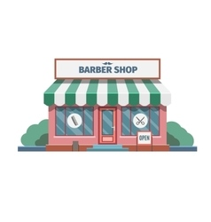 Barber in the barber shop in town vector image