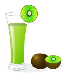 fruit kiwi and glass of juice vector image vector image