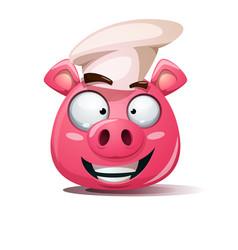funny cute crazy pig icon cook smiley symbol vector image vector image