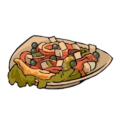 Greek vegetable salad with tomatoes feta cheese vector