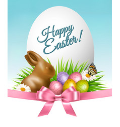 happy easter background colorful eggs and vector image vector image