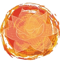 Lotus on orange background vector image