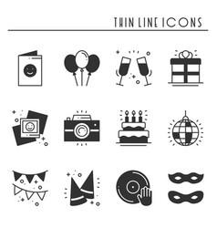 party celebration thin line icons set birthday vector image