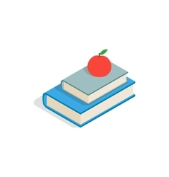 Red apple and two books icon isometric 3d style vector image vector image