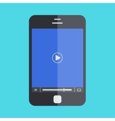 smartphone with player on blue background vector image vector image