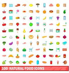 100 natural food icons set cartoon style vector image vector image