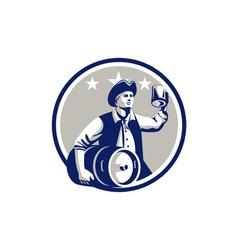 American Patriot Carry Beer Keg Circle Retro vector image vector image