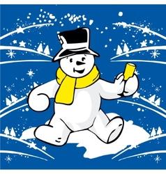 Cheerful snowman vector