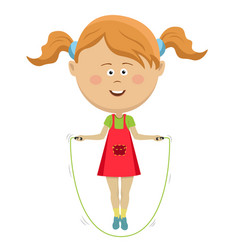 cute little girl jumping with skipping rope vector image
