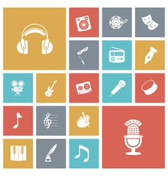 Flat design icons for music and sound vector image vector image