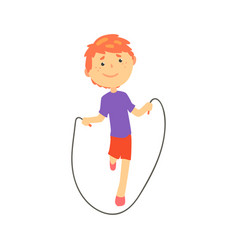 Sportive boy jumping with a rope kids physical vector