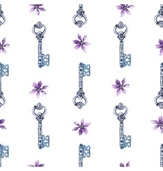 Watercolor flower and key pattern vector image vector image