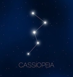 Cassiopeia constellation in night sky vector image vector image
