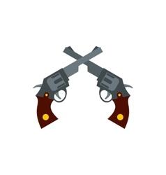 Crossed retro revolvers icon flat style vector image
