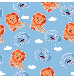 Seamless pattern with lion and elephant vector image