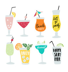 set of hand drawn alcoholic drinks cocktails with vector image vector image