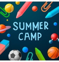 Themed Summer Camp 2016 poster sport games vector image vector image