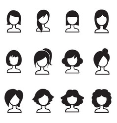 woman hair style icons symbol i vector image