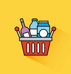 basket shopping bottle drink box milk vector image